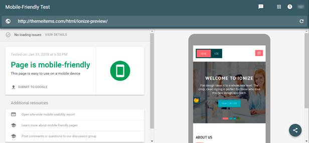 Google Mobile Friendly Testing Image